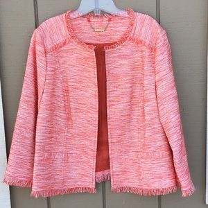 New Trina Turk Orange / White Jacket Size 14